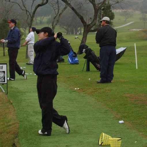 Players on range during mental game golf school